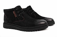 Ботинки мужские Lido Marinozzi нубук, цвет черный (платформа, комфорт, зима, нат. мех)