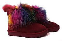 Угги женские Li Fexpert эко-замш, цвет бордо, цветной мех (сапоги, мех, зима, платформа)