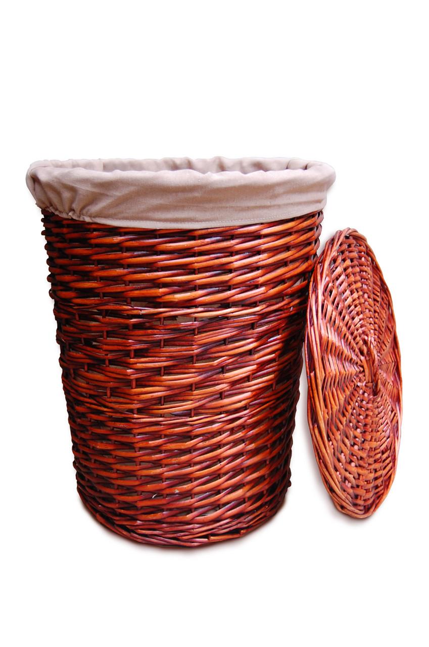 Корзина плетенная для белья круглый коричневый S