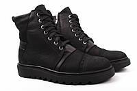 Ботинки мужские Flamanti нубук, цвет черный (платформа, комфорт, зима, мех, Украина)