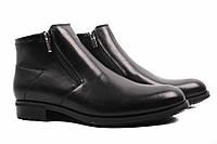 Ботинки мужские Conhpol натуральная кожа, цвет черный (каблук, комфорт, зима, мех, Польша)