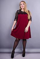 Лайза. Красивое платье супер батал. Бордо.