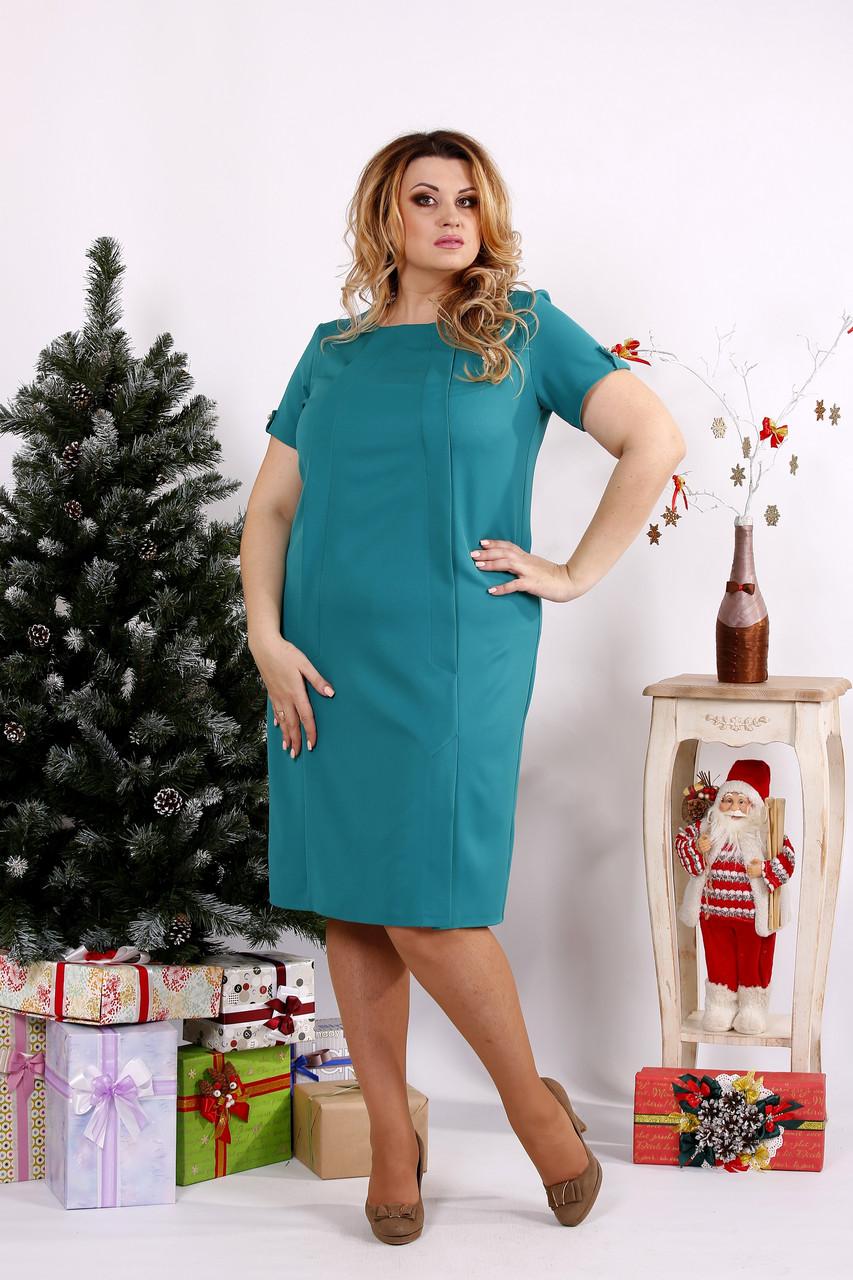Зеленое строгое платье из костюмки   0685-3