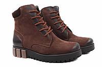 Ботинки женские Zumer нубук, цвет коричневый (ботильоны, платформа, зима, мех, Украина)