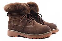 Ботинки женские Lifexpert натуральный замш, цвет коричневый (ботильоны, каблук, зима, мех)