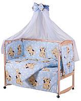 Постельный комплект в кроватку Qvatro Gold 8 элем. голубой (мишка-мальчик и мишка-девочка)