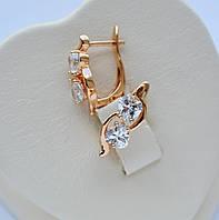 """Серьги """"Два сердца"""" фирма Xuping позолота 18к. с белыми цирконами."""