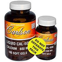 Кальций для костей, Cal-600, Carlson Labs, 100+30 гелевых капсул