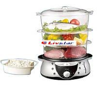 Пароварка трех ярусная Livstar. Многофункциональная электро мультиварка, рисоварка, мантоварка, фото 1
