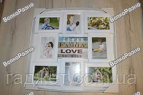 Фоторамка Коллаж с табличками белая на 8 фотографий., фото 2