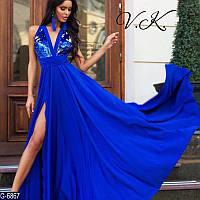 Удлиненное женское платье-сарафан из микромасла и двухсторонними паетками с регулирующим поясом. Арт - 18791