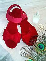 """Сандалии с бантом """"Флорин"""" - распродажа модели красный, 23.5 см"""
