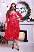 Платье Гипюрное нарядное красное беби дол миди н. и Батал
