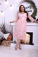 Платье Гипюрное нарядное персиковое беби дол миди н. и Батал