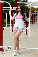 """Спортивный костюм летний """"Silvia"""" - распродажа серый+розовый, 42"""