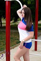 "Спортивный костюм летний ""Silvia"" - распродажа синий+серый, 46"