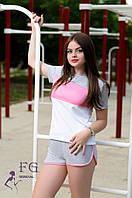 """Спортивный костюм летний """"Silvia"""" - распродажа серый+розовый, 46"""
