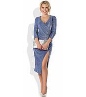 Синее платье из люрекса с эффектом запаха