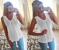 """Шифоновая блуза """"Волна"""" - распродажа модели белый, 46"""