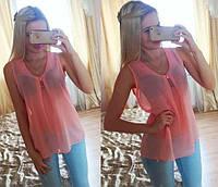 """Шифоновая блуза """"Волна"""" - распродажа модели персиковый, 46"""