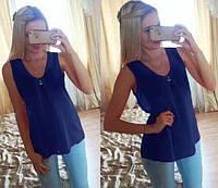 "Шифоновая блуза ""Волна"" - распродажа модели темно-синий, 46"