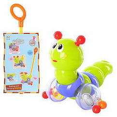 Развивающая игрушка 686/9147 Гусеница-каталка на палочке со светом и музыкой Huile Toys / Royaltoys