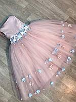 Детское нарядное платье для девочек на Новый год пудра с голубым