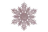 Елочное украшение/декор Снежинка, розовая 15 см, пластик