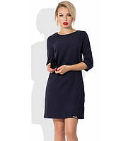 Синее прямое платье со вставками неопрен-гипюра