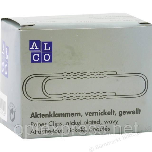 Скрепки металлические хромированные 77 мм ALCO 262