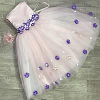 Детское нарядное платье для девочек на Новый год пудра с синими цветами