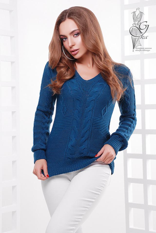 Цвет темная бирюза Красивых женских свитеров Цветана-10