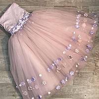 Детское нарядное платье для девочек на Новый год пудра с фиолетовыми цветами