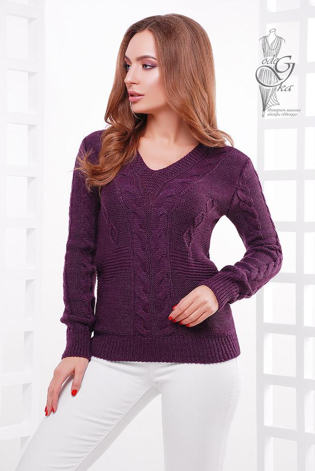 Цвет баклажан Красивых женских свитеров Цветана-11