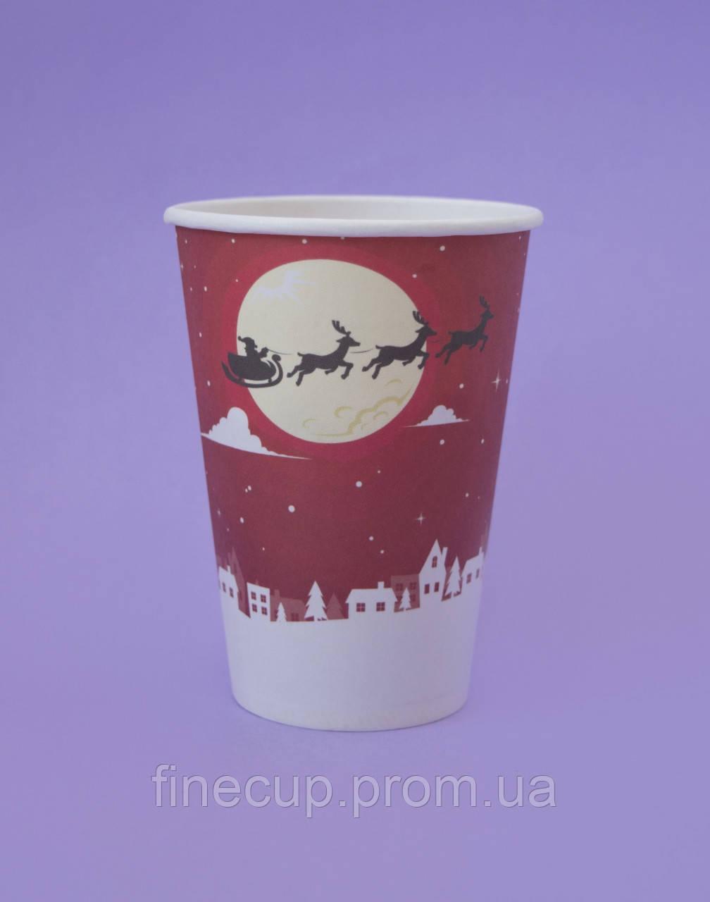 """Паперові стаканчики/бумажные стаканы """"новорічні"""" 340 мл"""