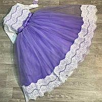 Детское нарядное платье для девочек Анита с болеро синего цвета