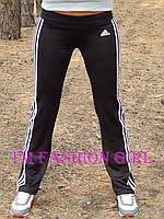 Женские спортивные штаны Adidas. Распродажа черный с белыми лампасами, 46