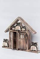 Ключница настенная деревянная Домик сов размер 40*30*7