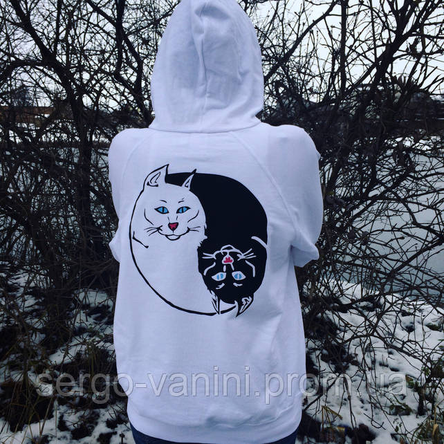 RipNDip black white Cat • Женская худи толстовка • Реальные фотки