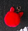 Помпон натуральный мех брелок с ушками для сумки рюкзака 8см, фото 2