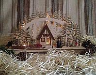 Новогоднее, рождественское украшение с подсветкой Домик лесника зимой