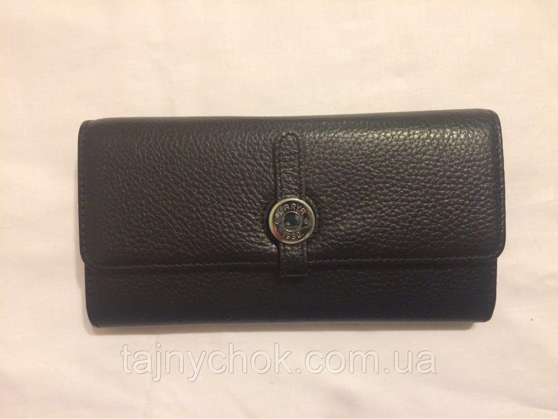 Чёрный женский кожаный кошелёк KARYA