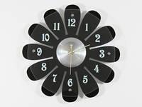 Часы настенные дерево черные Ромашка