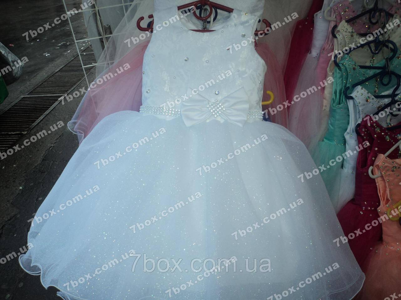 Детское платье бальное Мерцание снега (белое) Возраст 3,5-5 лет