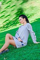 """Платье с длинным рукавом  """"Ангелина"""", серый серый, 44"""