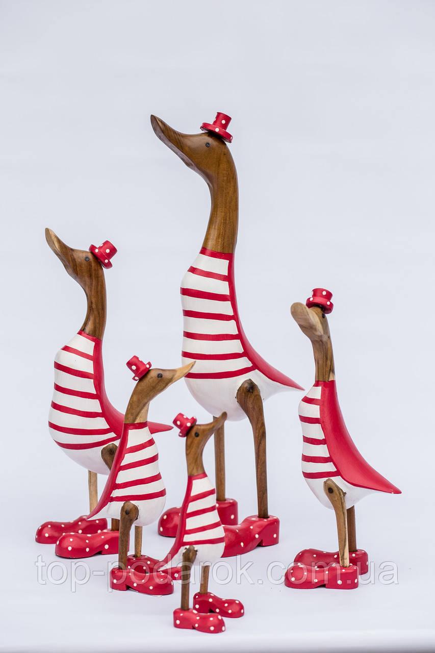 Утка красно-белая из корня бамбука высота 60 см