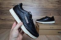 Мужские кроссовки Reebok черные кожаные