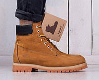 Ботинки Timberland мужские на овчине рыжие топ реплика