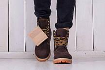 Ботинки Timberland мужские на овчине темно-коричневые топ реплика, фото 2