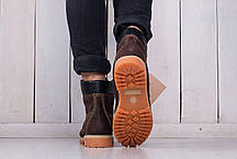 Ботинки Timberland мужские на овчине темно-коричневые топ реплика, фото 3